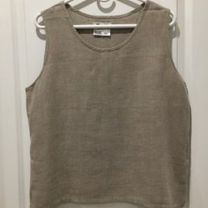 FLAX Women's Natural Tan Tank Top Side-Slit Sz. M